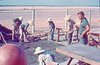 Don Olsen and VN crew with patio construction, Thunderbird Lounge
